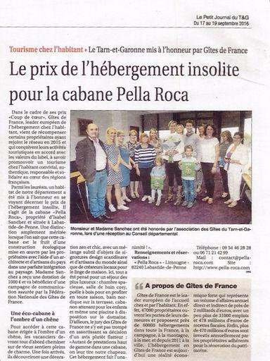 article LA DEPECHE sur Pella Roca Cabane & Spa