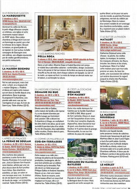 article FIGARO MAGAZINE sur Pella Roca Cabane & Spa