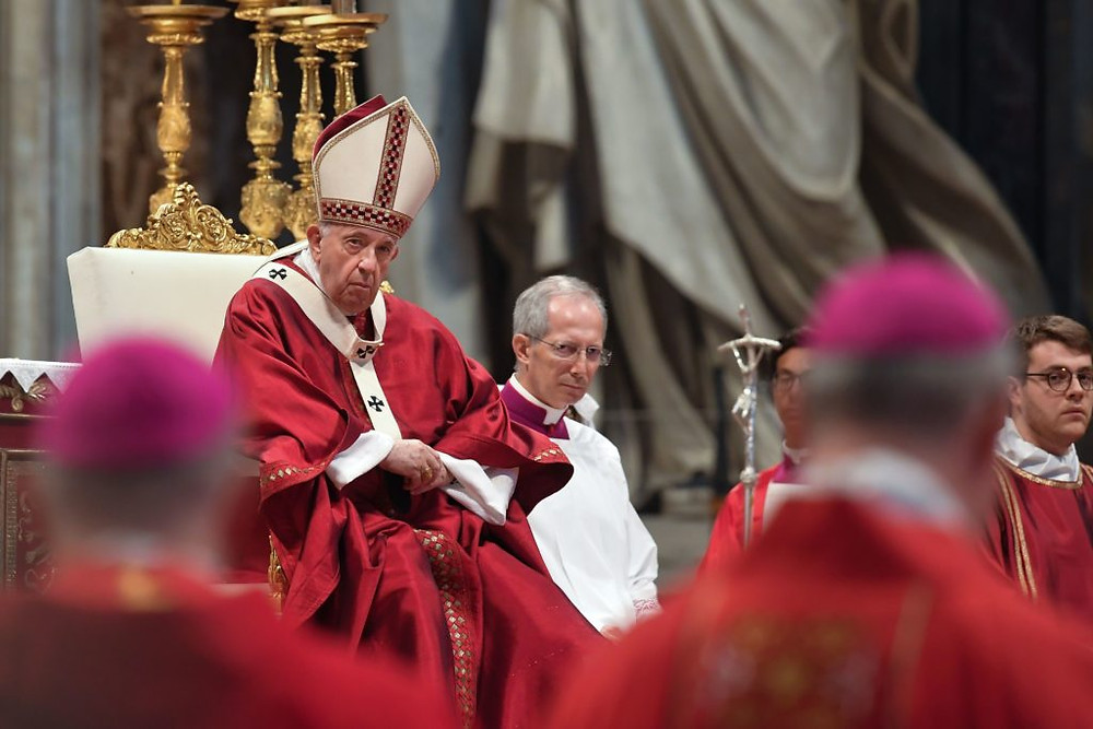 Pope Francis holds a mass to give the sacred pallium to new metropolitan Archbishops