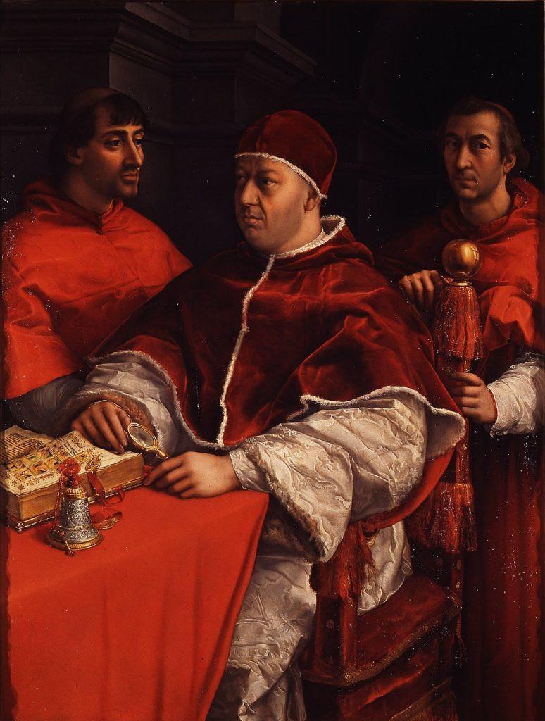 Portrait of Leo X with Cardinals Giulio de 'Medici and Luigi de' Rossi by Raphael.