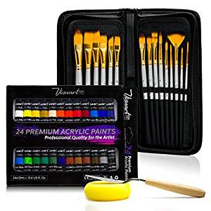 Acrylic Paint Brush Set With 15 Premium Artist Brushes And Bonus 24 Color Acrylic Paint