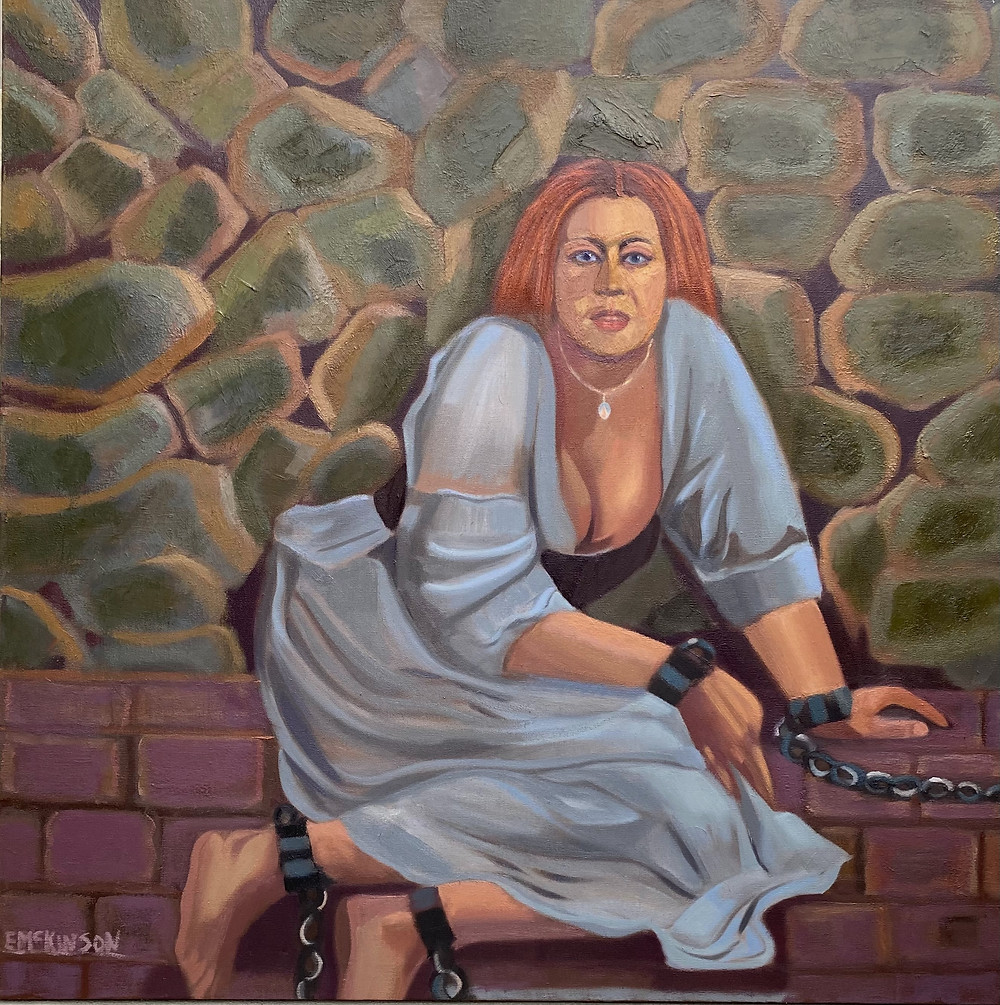 Chained - Ginger. Women in captivity. Oil on Canvas 36 x 36