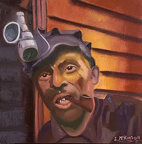 Coal Miner - Marcus the Backhoe Loader Operator Oil on DaVinci Pro Resist Grip Textured Ge