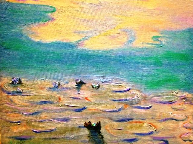Water Lilies VI, Errol McKinson Oil on canvas 12x12