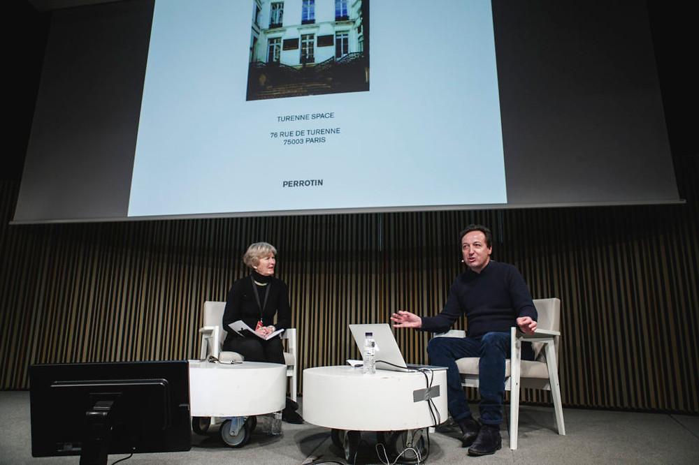 Art market journalist Georgina Adam and gallerist Emmanuel Perrotin