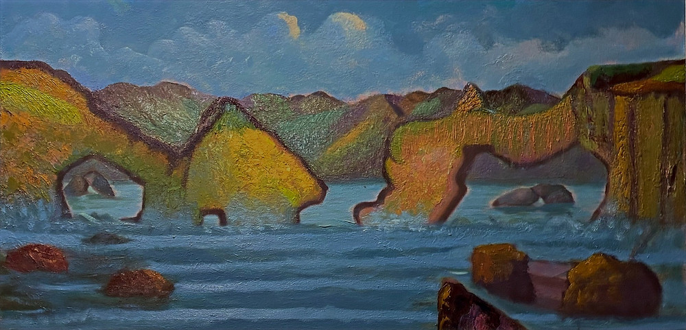 The Cliffs of Moher are sea cliffs located at the southwestern edge of the Burren region in County Clare, Ireland. Oil on GW Canvas 24 x 48