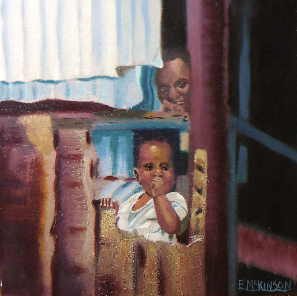 Daddy Is Home Oil on Panel 12x12