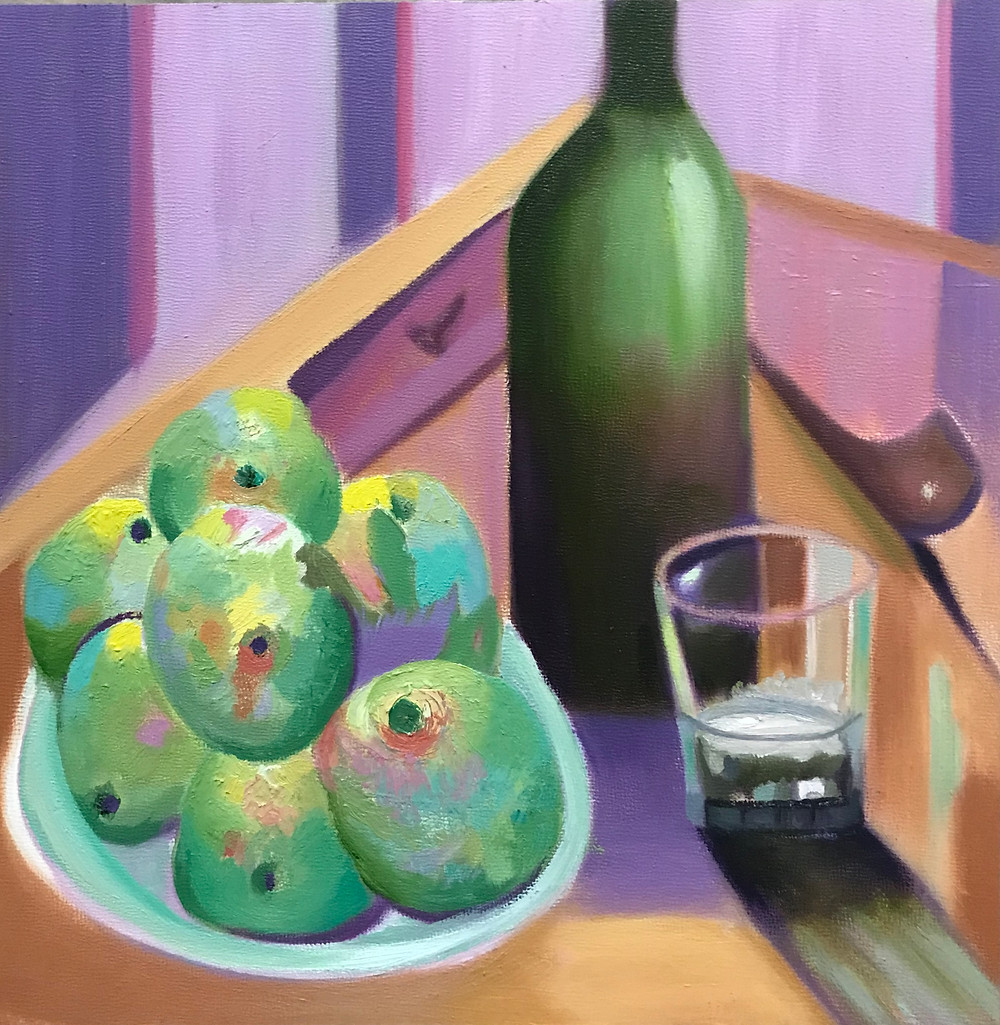 Apples and Pipe Oil on Panel 12x12