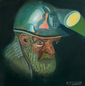 The Coal Miner Oil on Gesso Board 12 x 12 .JPEG