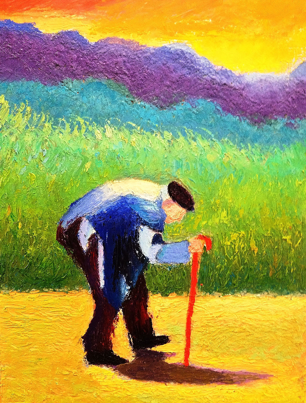 Old Man Stroll Oil on Panel 12 x 16