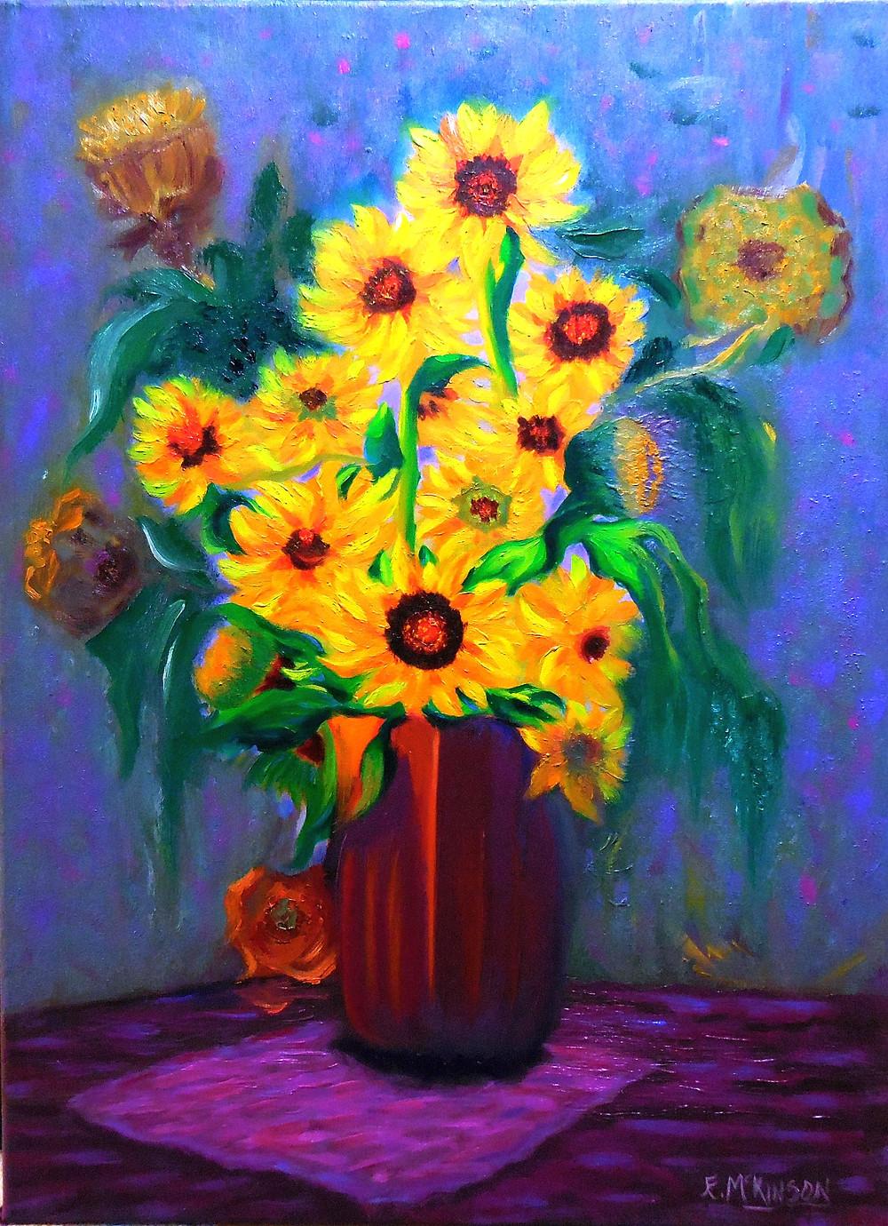 Sunflowers in Red Vase, Errol McKinson Oil on Canvas 18x24