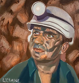 Coal Miner - Jimmy the Site Manager Oil onDaVinci Ultra Smooth Gesso Panel 12 x 12 x2.JPEG
