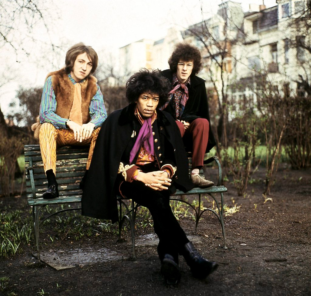 Jimi Hendrix with Mitch Mitchell and Noel Redding, members of The Jimi Hendrix Experience. Photo by K & K Ulf Kruger OHG/Redferns.