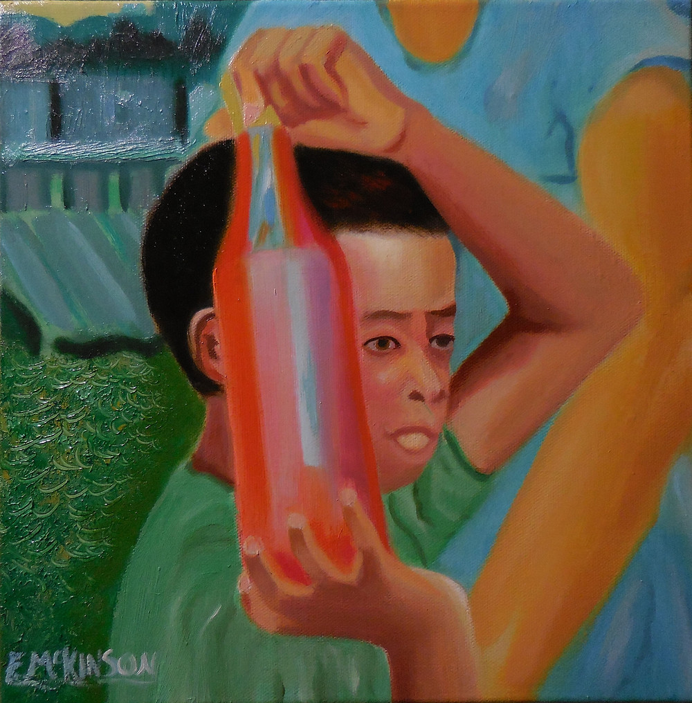 Boy at the Market Carrying a Bottle of Syrup, Errol McKinson Oil on canvas 12x12