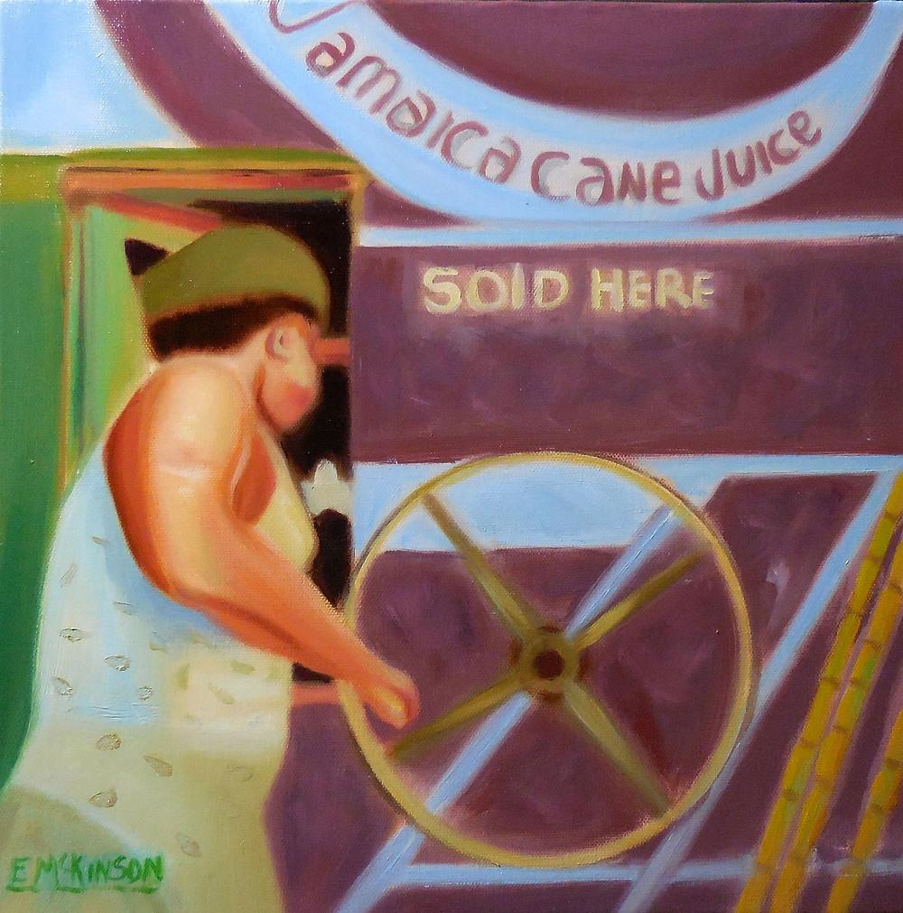 The Cane Juice Vendor, Errol McKinson Oil on Canvas 14x14