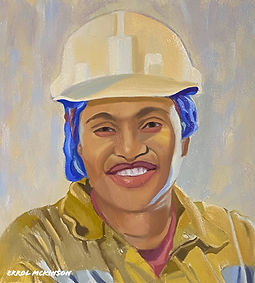 Coal Miner - Rosa the Mine Safety Manager Oil on Davinci Resist Grip Textured Gesso Panel