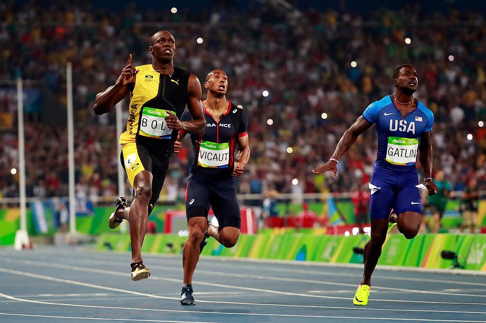 Usain Bolt, Justin Gatlin and Andre de Grasse