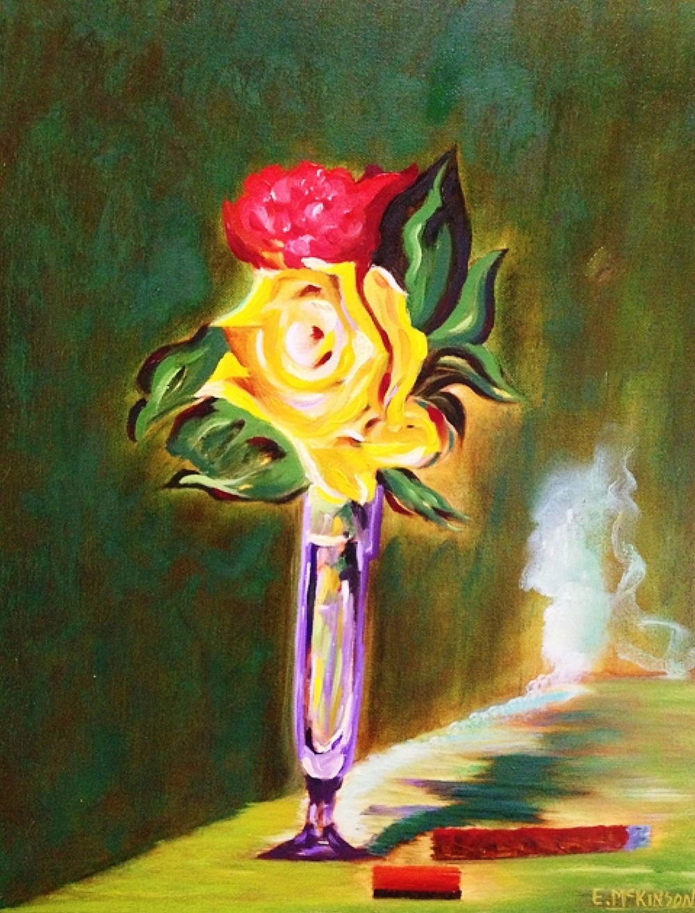 Roses in Champagne Glass with Cigar & Match