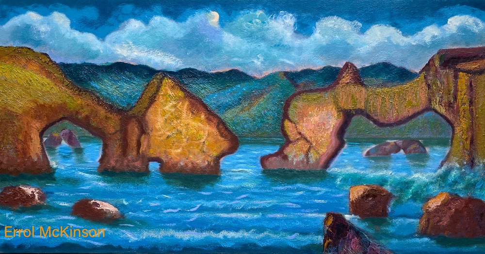 The Cliffs of Moher are sea cliffs located at the southwestern edge of the Burren region in County Clare, Ireland. Oil on Canvas GW 24 x 48