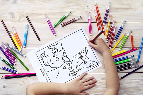 Pretty Kitty and Posh Pup Coloring Page