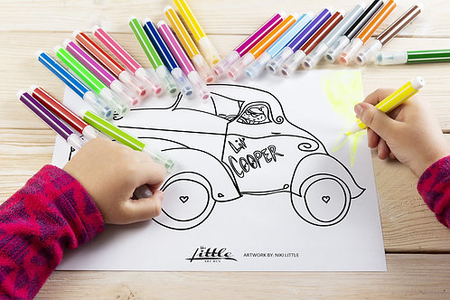 Cupcake in a Hot Rod Coloring Page