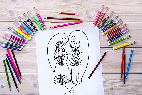 Bride & Groom Coloring Page