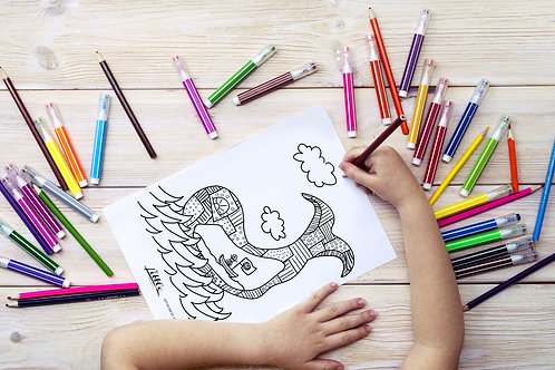 Pirate and The Whale Coloring Page