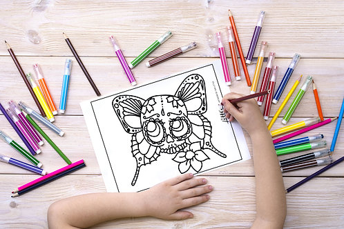 Butterfly Skull Coloring Page