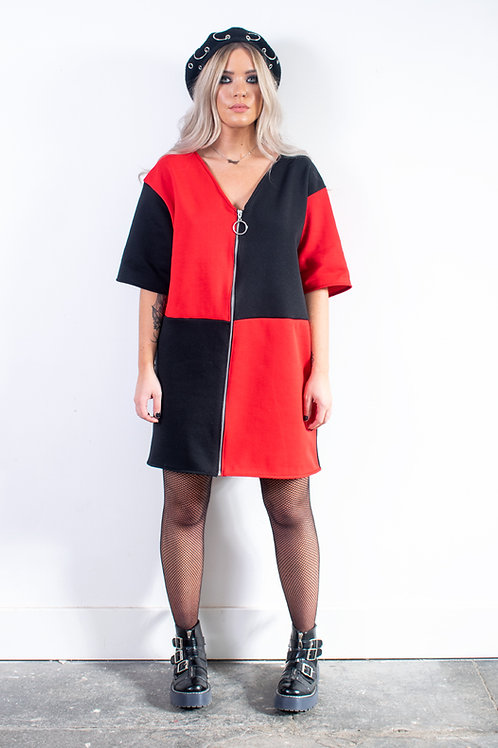 Red And Black Zip Sweater Dress