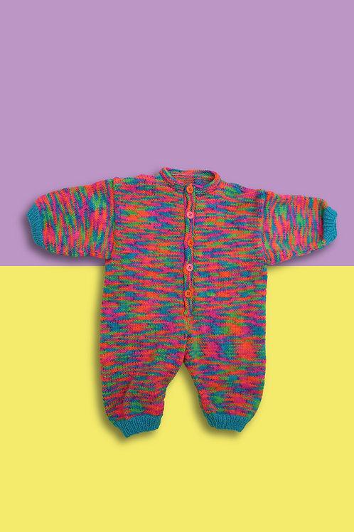 Neon Glitch Knitted Babygrow