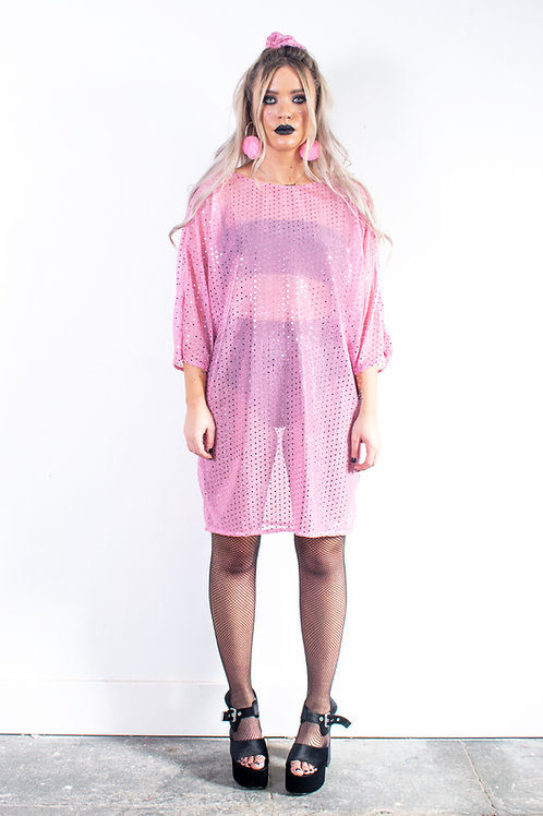 Pink Sequin Batwing Dress