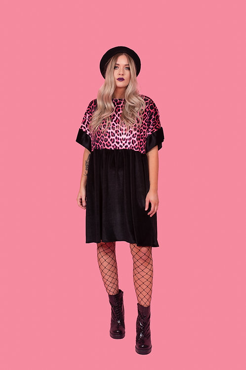 Candy Pink Leopard Print Kelly Dress [Leopard Upper]