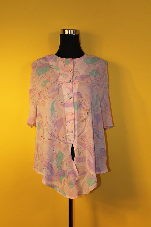 1980s Vintage Light Floral Shirt
