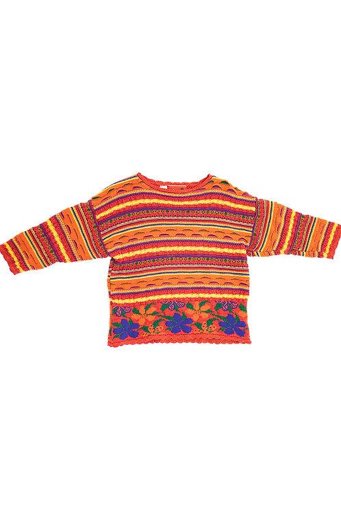 Orange Multicoloured stripe and floral jumper