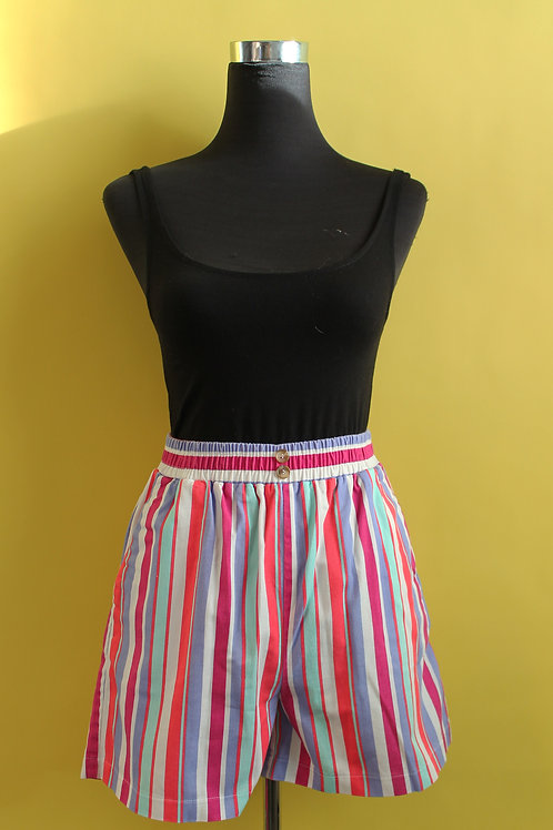 1980s Vintage Pinstripe Coloured Shorts
