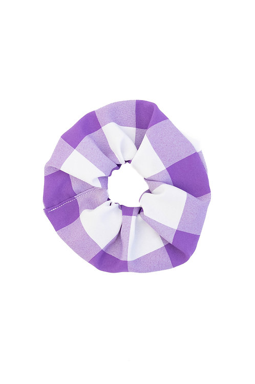 Large-Scale Gingham Scrunchie Purple