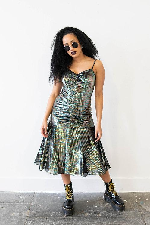 Rainbow Metallic Peplum Dress