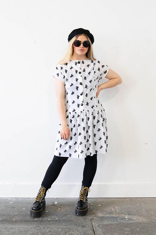Vintage Monochrome Print Dress