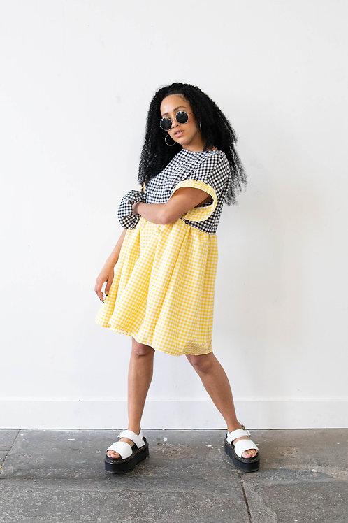 Medium-Scale Gingham Yellow and Black  Colour Block Kelly Dress – Yellow Main
