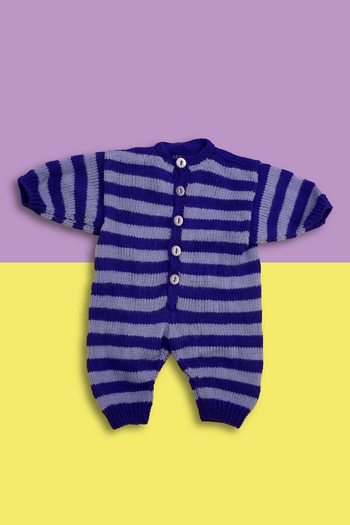 Purple Candy Stripe Knitted Babygrow