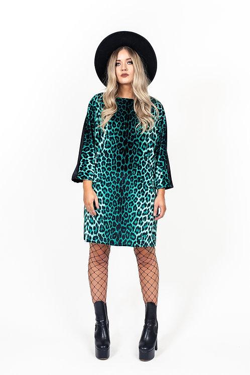 Ocean Green Leopard Print Batwing Dress
