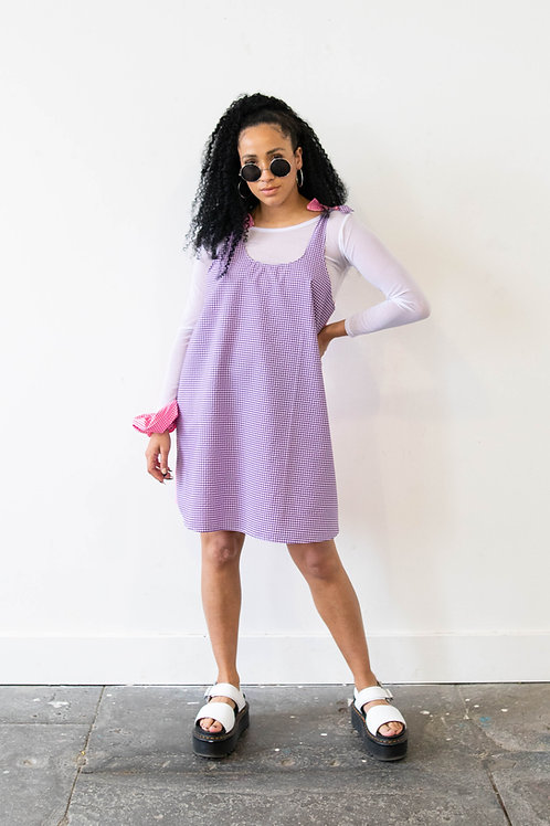 Small-Scale Gingham Purple and Pink Colour Block Swing Dress – Reversible