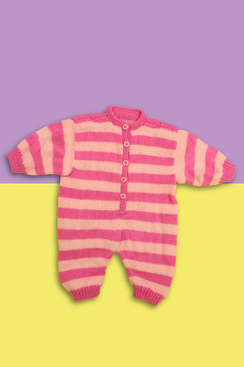 Cotton Candy Stripe Knitted Babygrow