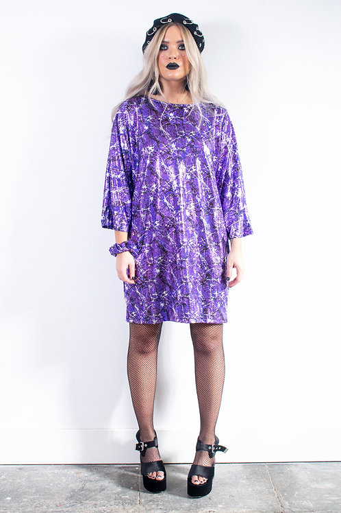 Purple Metallic Batwing Dress