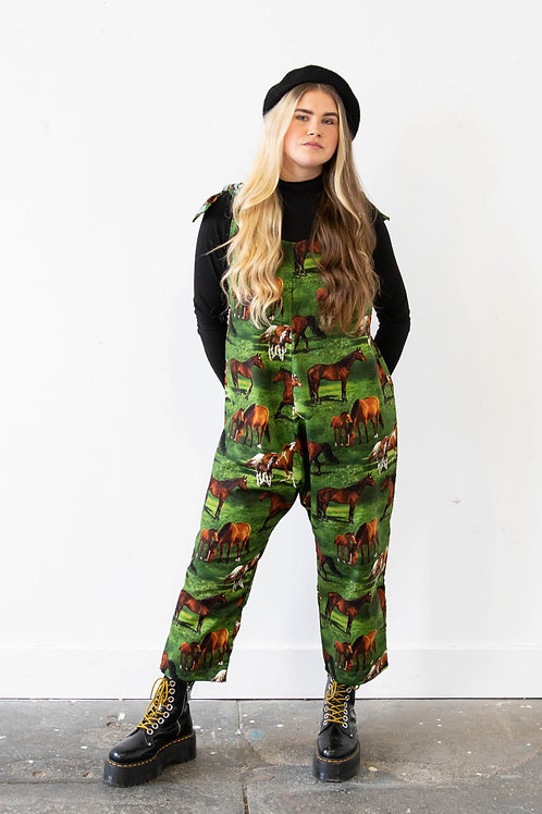 Oversized Horse Print Zach Dungarees