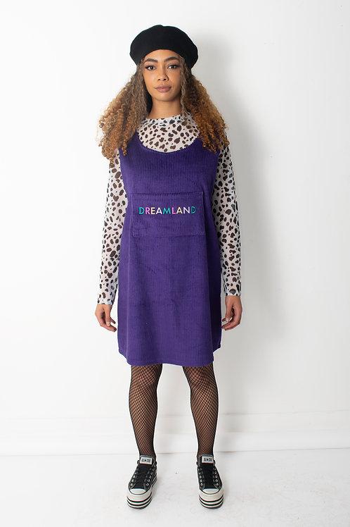 Dreamland Purple Embroidered Corduroy Pocket Tank Dress