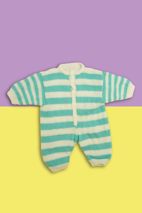 Peppermint Stripe Knitted Babygrow
