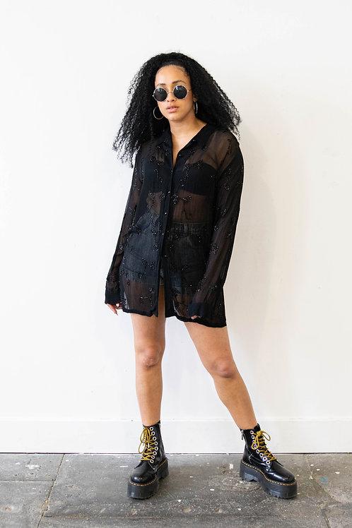 Black Sheer Sequin Embellished Shirt