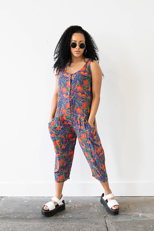 80s Tropical PrintJumpsuit