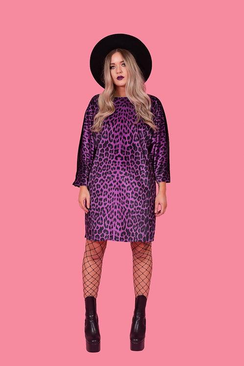 Deep Purple Leopard Print Batwing Dress
